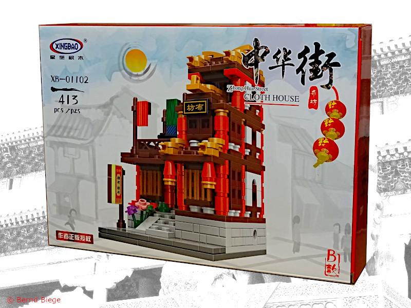 xingbao 01102-B kleiner chinesischer stoffladen oder schneider aus klemmbausteinen