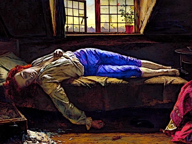 """Ausschnitt aus """"The Death of Chatterton"""" von Henry Wallis (1856)"""